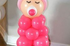 17 baby made of balloons, pink for a girl's party and blue for a boy's one