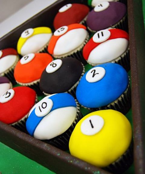 billiards cupcakes instead of a real birthday cake is a fun idea