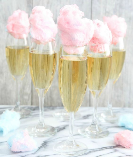 champagne with pink candy cotton