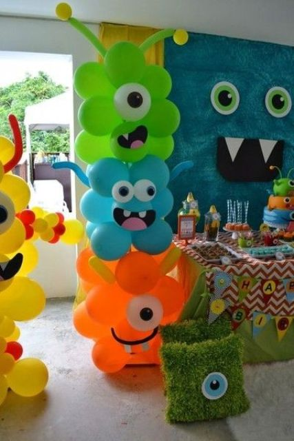 colorful monster balloons for the entrance