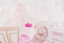 17 refined white and pink carriage bed with beautiful detailing