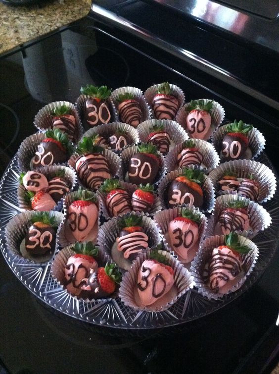 chocolate covered strawberries for a 30th birthday party