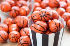 18 chocolate sports balls as party treats