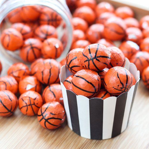 chocolate sports balls as party treats