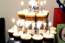 19 cupcakes and favorite beer instead of a birthday cake