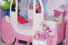 19 pink princess carriage bed with additional storage