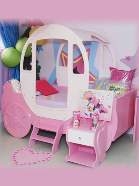 pink princess carriage bed with additional storage