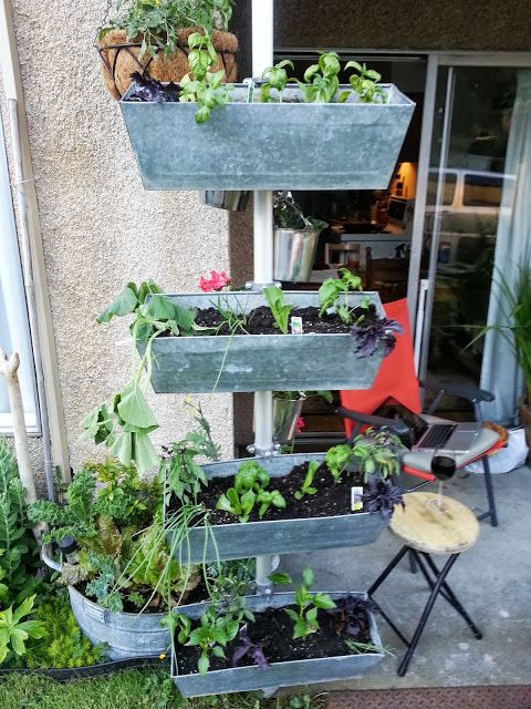 vertical planter with a small footprint made from IKEA items