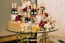 20 Moet, macarons and flowers for 30th birthday party decor