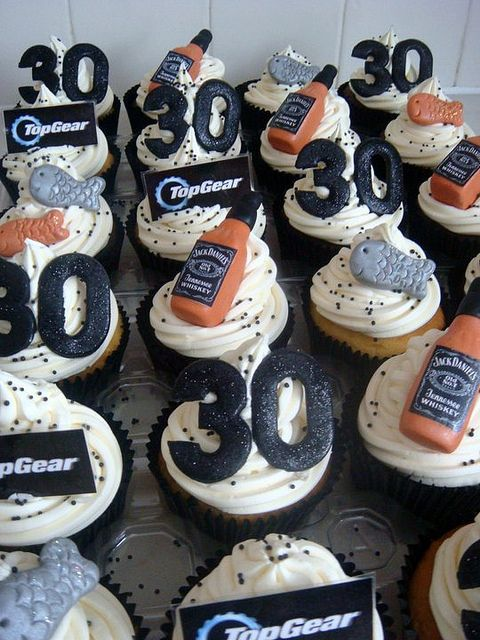 manly cupcakes for the 30th birthday, Jack Daniels, Top Gear and fish toppers