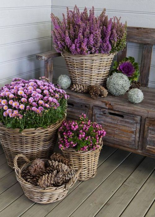 welcome spring with baskets of flowers, you can just place planters with them inside baskets
