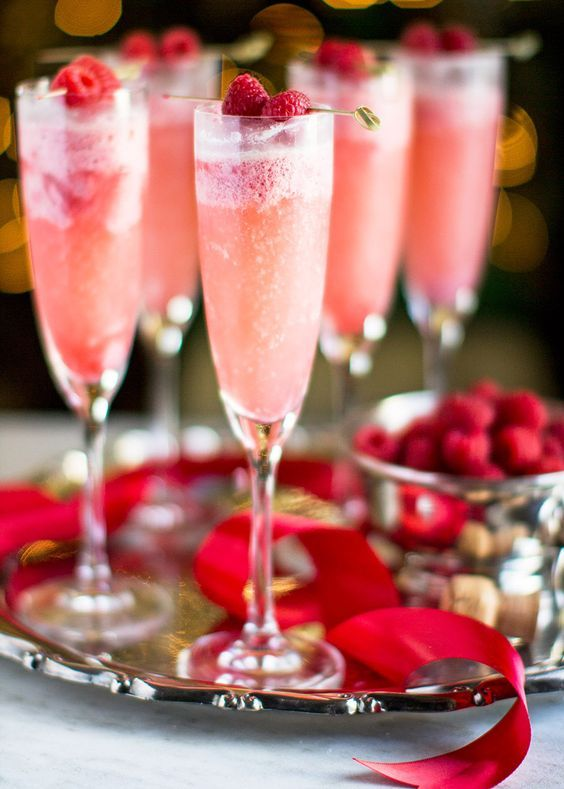 raspberry cream mimosas as a signature cocktail