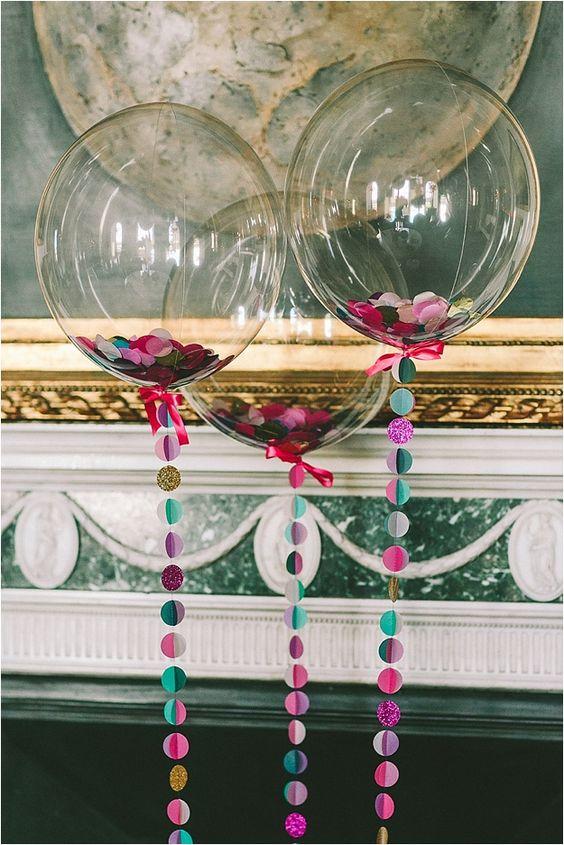 sheer confetti balloons for decor