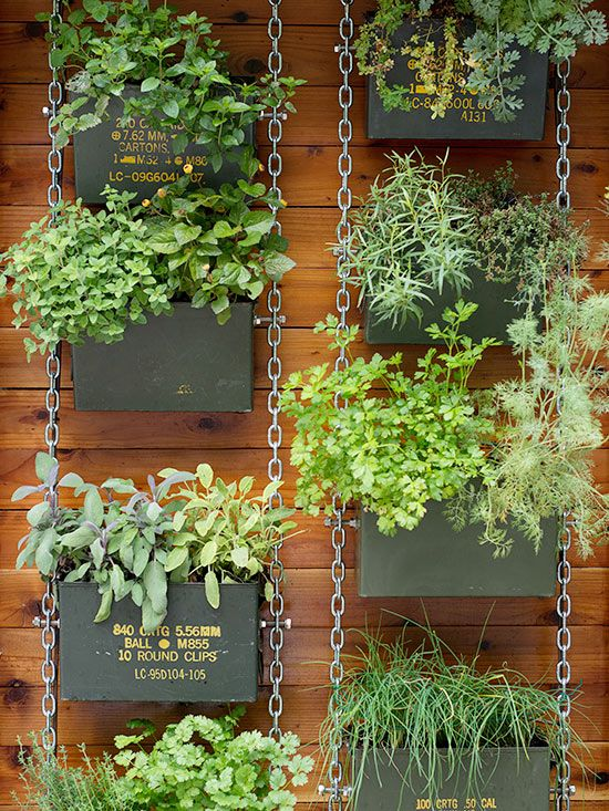a hanging garden on chains of salvaged materials