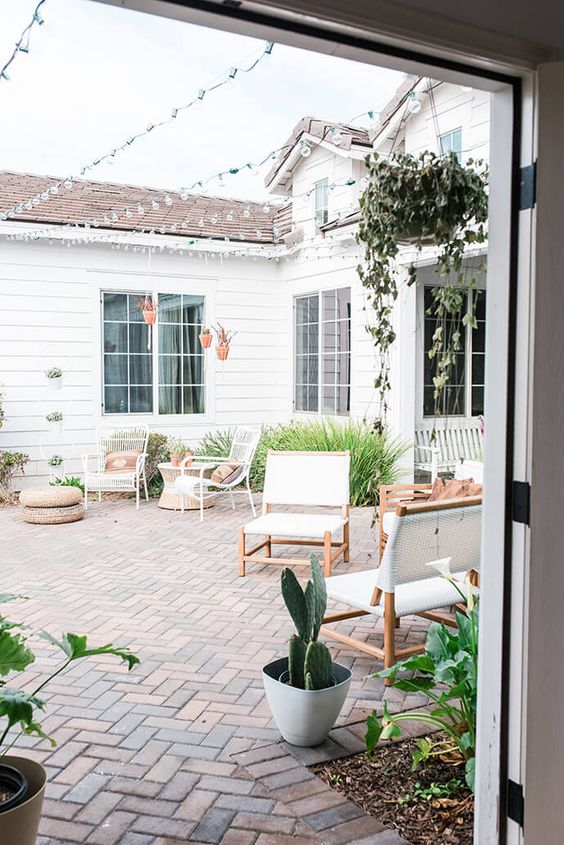 a whole outdoor space clad with brick creates a stylish united look