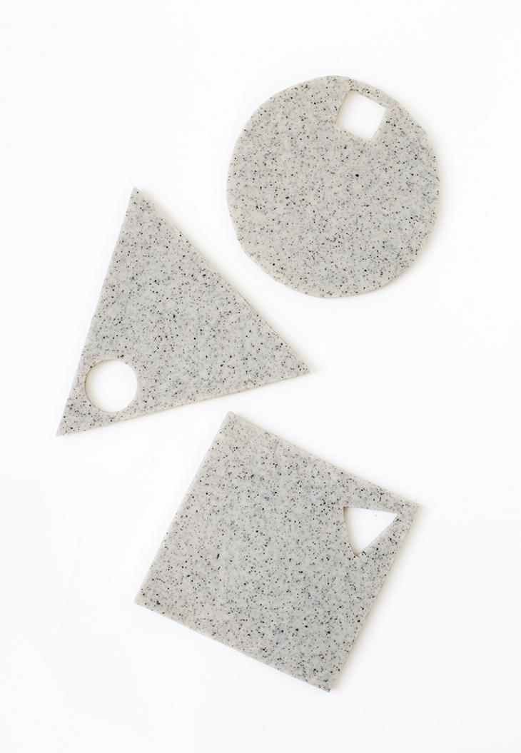 DIY granity clay geometric trivets