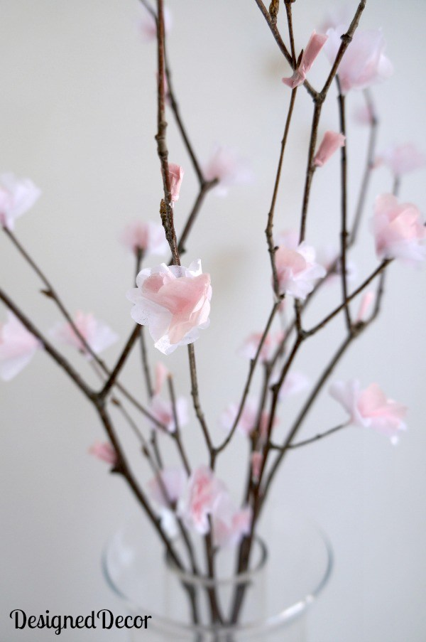 DIY cherry blossoms of tissue paper (via designeddecor.com)