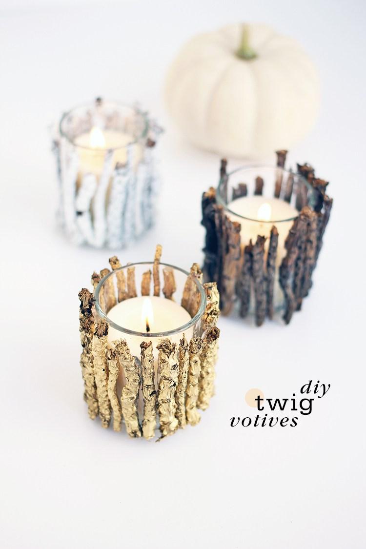 DIY twig votive candle holders (via www.freutcake.com)