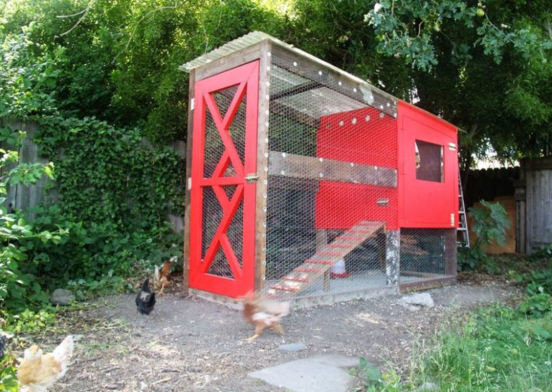 DIY stylish chicken coop with predator protection (via www.smallfriendly.com)