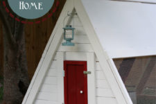 DIY patriotic red, blue and white chicken coop
