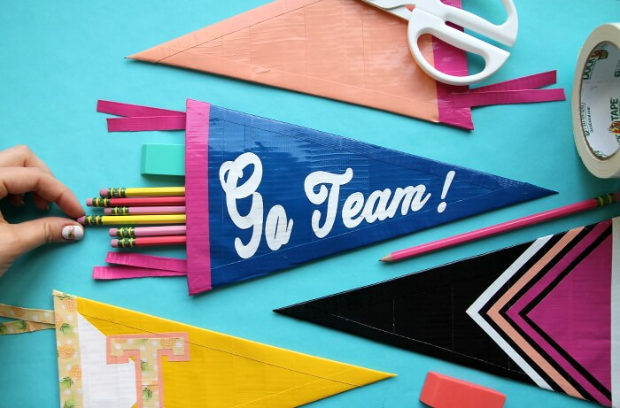 DIY duct tape pennant pencil pouch (via persialou.com)