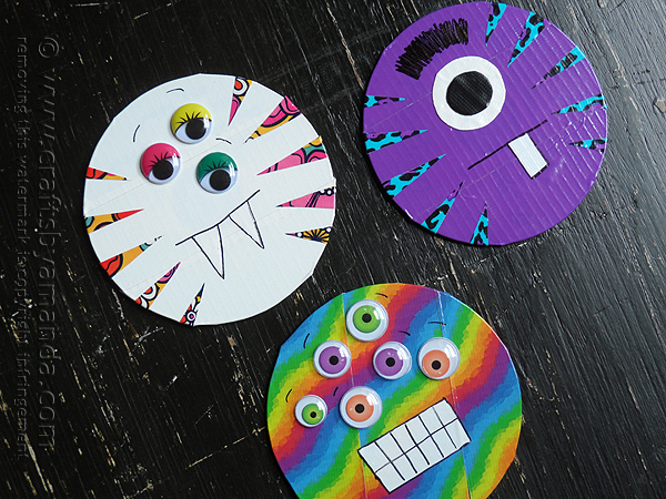 DIY duct tape CD and DVD monsters (via craftsbyamanda.com)