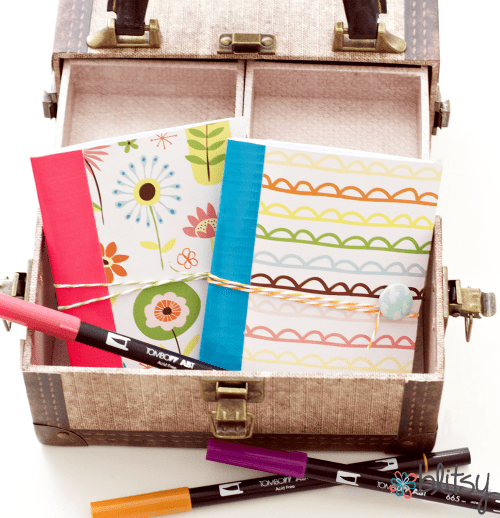 DIY mini duct tape decorated notebook (via www.blitsycrafts.com)