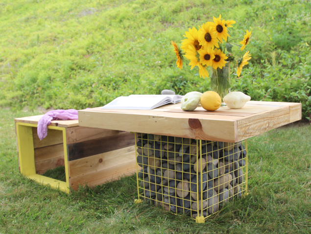 DIY pallet wooden bench and gabion table (via www.apieceofrainbow.com)