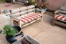 DIY rustic outdoor patio bench
