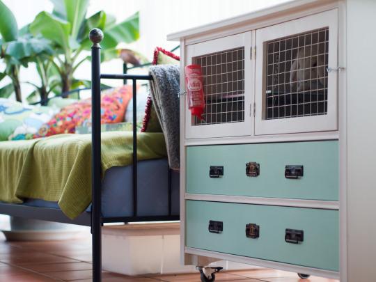 DIY rabbit shelter from a dresser