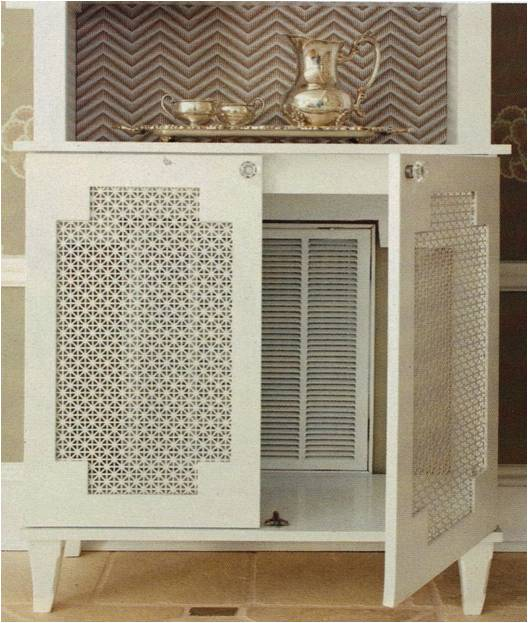 how to hide an ugly vent with a cool furniture piece with perforated doors (via https:)