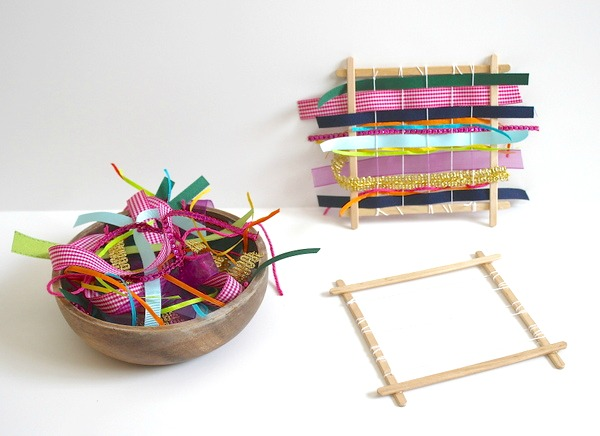 DIY weaving with popsicle sticks and ribbon