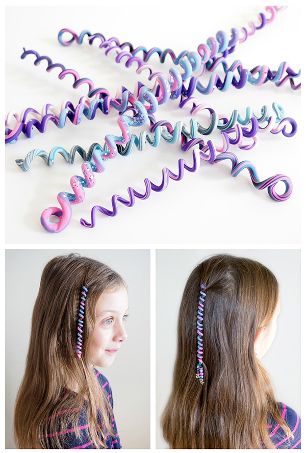 DIY polymer clay spiral hair wraps (via dabblesandbabbles.com)