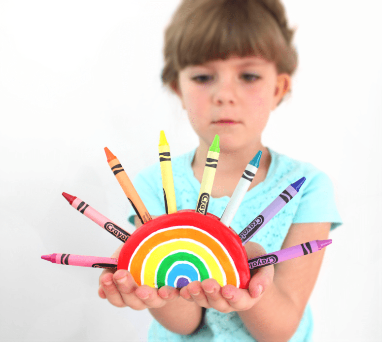 DIY rainbow clay crayon holders (via www.linesacross.com)