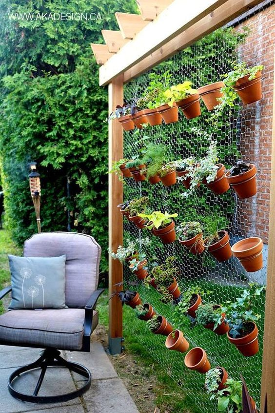 outdoor garden on metal wire is a win-win idea