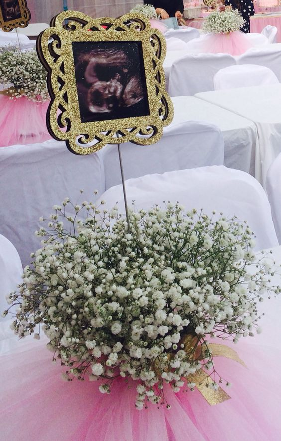 a baby's breath centerpiece with ultra sound