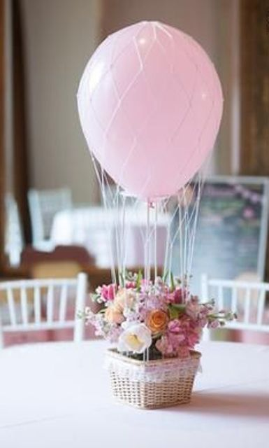 a basket with pastel florals and a pink balloon
