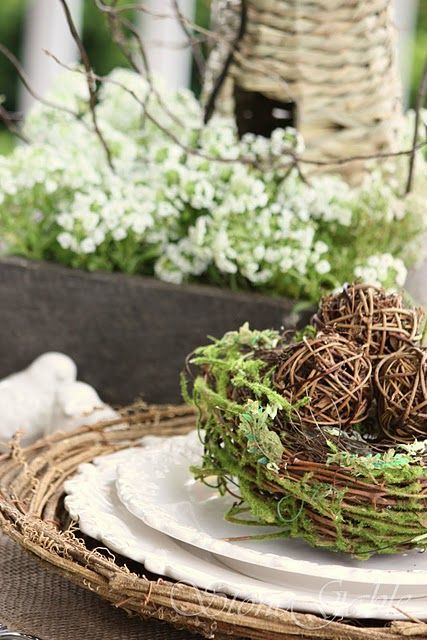 branch platter, white plates and a nest with moss and wicker eggs