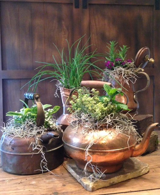 vintage metal tea pot planters with various arrangements