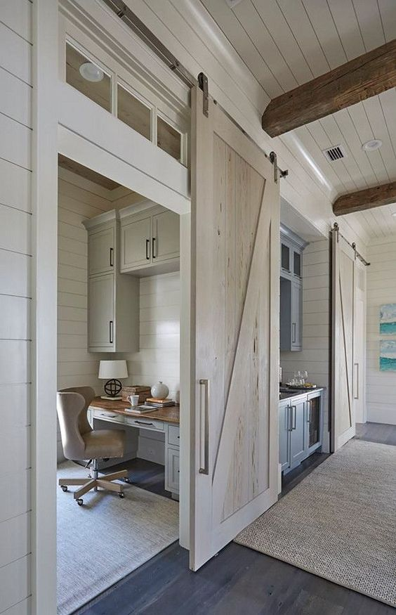 whitewashed barn wooden doors look lightweight and chic