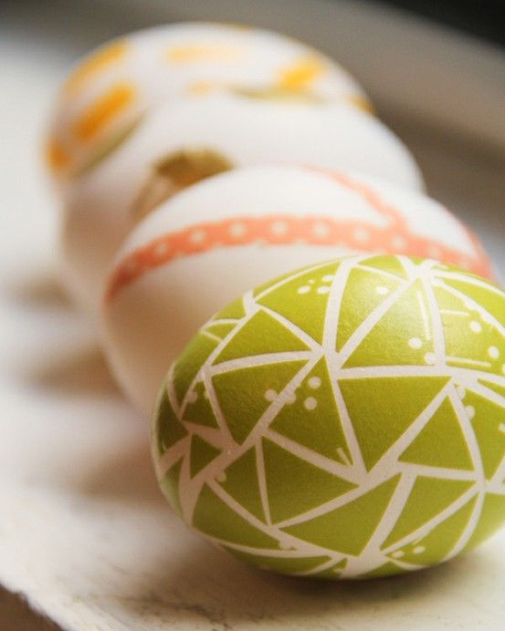 Easter egg decor made with masking tape