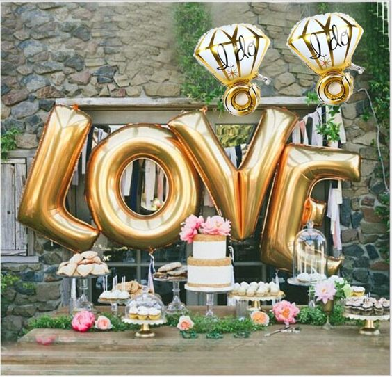 LOVE and diamond ring balloons for the dessert table