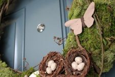 03 moss covered wreath with paper butterflies and nests