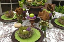 03 wicker platters, green plates, nests with moss and eggs