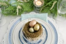 04 a lace trim platter, blue plates and a nest with shiny eggs