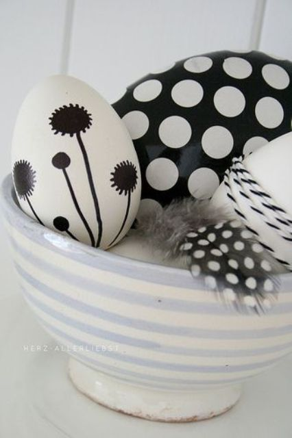 black and white Easter eggs with various patterns