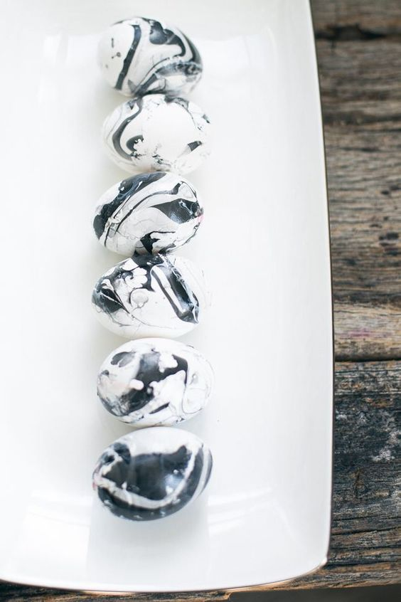 black and white marble eggs made of clay for Easter decor