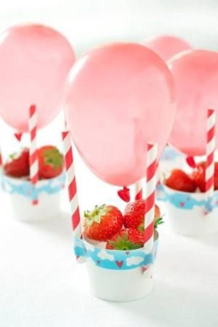 hot air balloons with fresh strawberries are fun and tasty