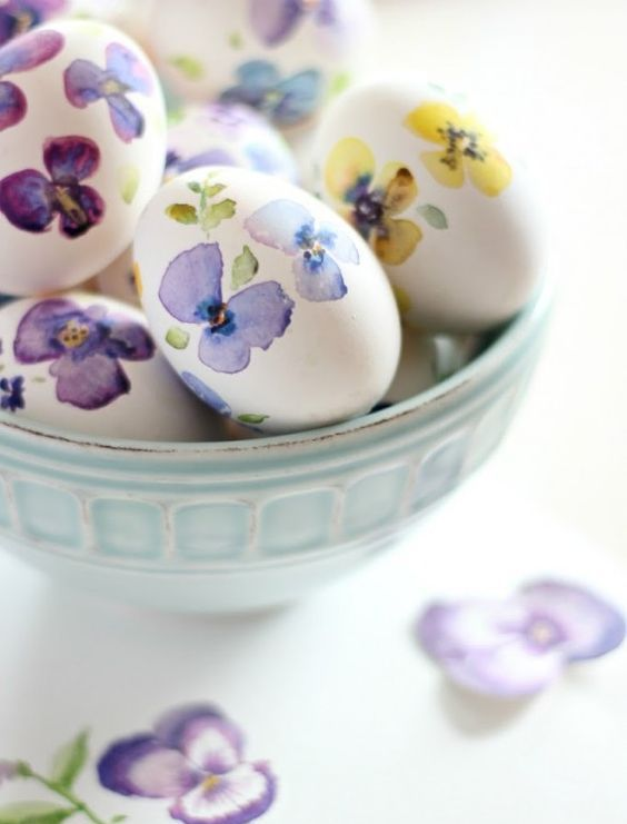 pansy decals for floral Easter eggs