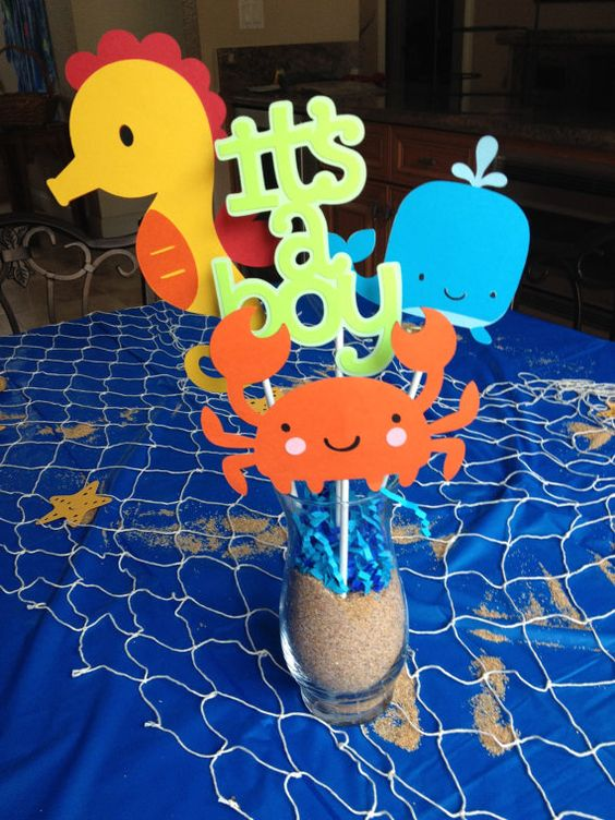 under the sea centerpiece with sea creatures of paper